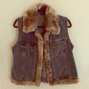 Vintage Denim Fur-Lined Vest (Genuine Rabbit Fur)